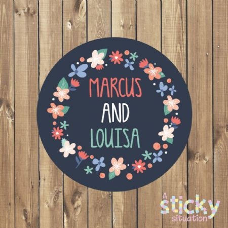 Personalised Wedding Stickers - Navy Floral Wreath Design